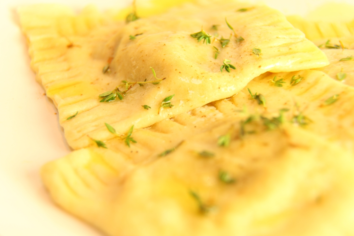 Spiced butternut and blue cheese ravioli